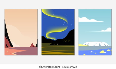 Minimalist landscape poster design, beach, aurora and snow mountain