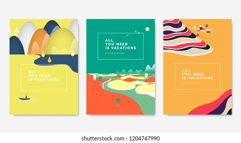 Minimalist landscape poster design, sea with mountains behind, island and rice terrace on mountain in colorful summer theme