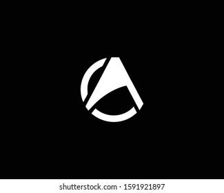 Minimalist Letter CA OA Logo Design , Editable in Vector Format in Black and White Color