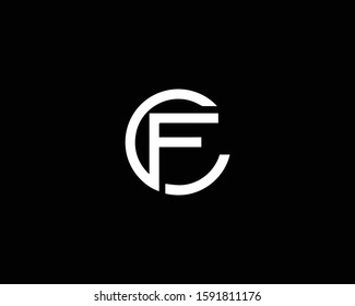 Minimalist Letter CF FC Logo Design , Editable in Vector Format in Black and White Color