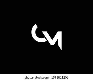 Minimalist Letter CM OM Logo Design , Editable in Vector Format in Black and White Color