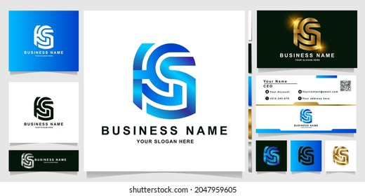 Minimalist letter HCS or HSS monogram logo template with business card design