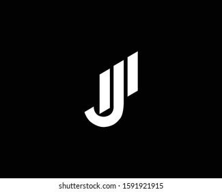 Minimalist Letter JM MJ Logo Design , Editable in Vector Format in Black and White Color