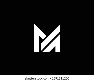 Minimalist Letter M MA Logo Design , Editable in Vector Format in Black and White Color