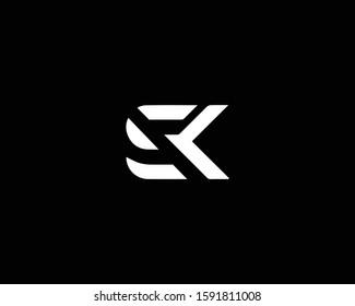 Minimalist Letter SK Logo Design , Editable in Vector Format in Black and White Color