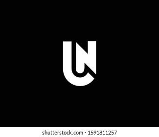Minimalist Letter UN NU JN NJ Logo Design , Editable in Vector Format in Black and White Color