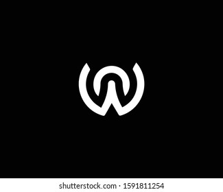 Minimalist Letter WN NW Logo Design , Editable in Vector Format in Black and White Color