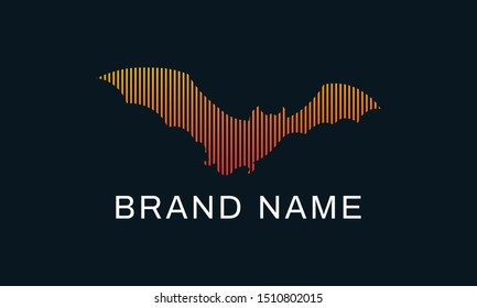 Minimalist line art bat logo. This logo icon incorporate with abstract line and brand name in the creative way. It will be suitable for bats related and sport club or company.