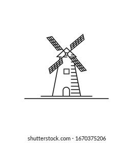Minimalist line art Creek and Windmill Farm logo design