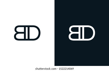 Minimalist line art letter BD logo. This logo icon incorporate with two letter B and D in the creative way.