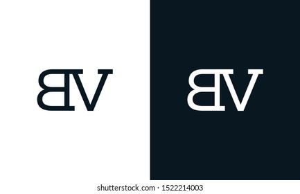 Minimalist line art letter BV logo. This logo icon incorporate with two letter B and V in the creative way.