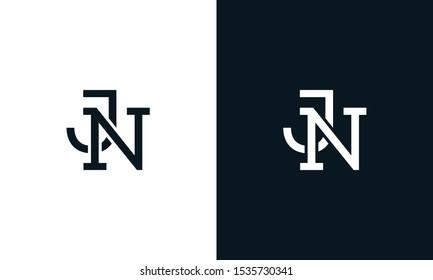 Minimalist line art letter JN logo