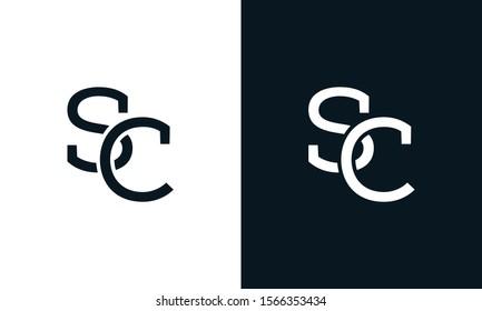 Minimalist line art letter SC logo.