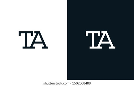 Minimalist line art letter TA logo. This logo icon incorporate with letter T and A in the creative way.