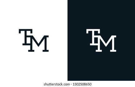 Minimalist line art letter TM logo. This logo icon incorporate with letter T and M in the creative way.