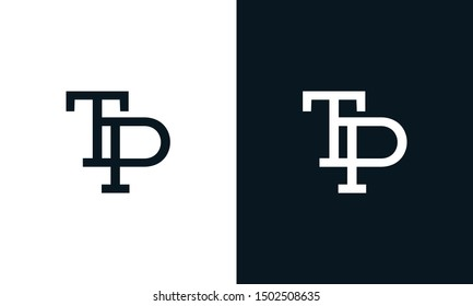Minimalist line art letter TP logo. This logo icon incorporate with letter T and P in the creative way.