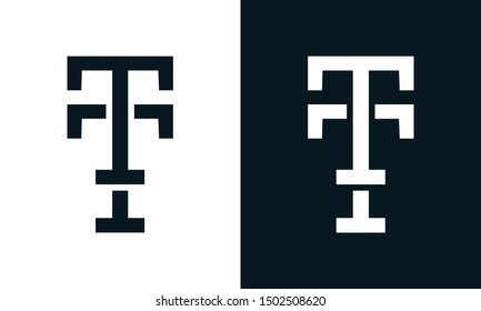 Minimalist line art letter TT logo. This logo icon incorporate with letter T and T in the creative way.