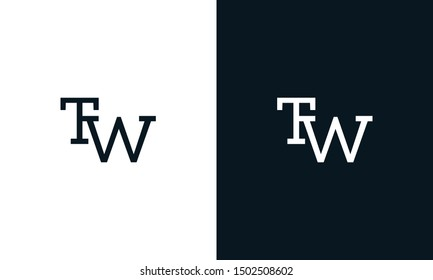 Minimalist line art letter TW logo. This logo icon incorporate with letter T and W in the creative way.