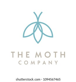 Minimalist Line Art Moth with Flower logo design inspiration
