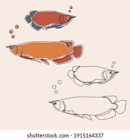 minimalist line art style cute asian redtail catfish illustration and one line art with earth tone.  editable and suitable for templates as well as illustrations. vector