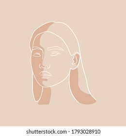 Minimalist line drawing. Smooth lines and abstract shapes. Portrait of a girl in a modern style, fashion model. Asian, oriental appearance. Vector illustration for spa salon, beauty industry, blog.