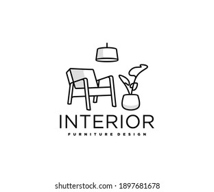 Minimalist living room interior with chair, indoor plant and home light logo design. Room with outline armchair, home decor vector design. Furniture design logotype