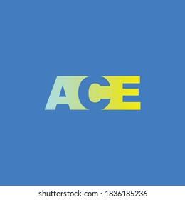 Minimalist logo design, ACE word, letter ACE