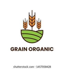 minimalist logo of grain or wheat on hill