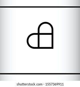 Minimalist logo of initial letters A and C in heart shape. Heart nad square. AC, CA letters. Brand, Logo design template