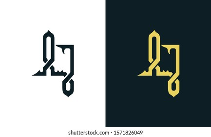 Minimalist luxury line art letter AJ logo. This logo icon incorporate with two Arabic letter in the creative way. It will be suitable for Royalty and Islamic related brand or company.