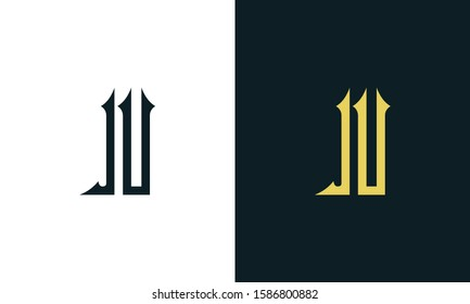 Minimalist luxury line art letter IU logo. This logo icon incorporate with two Arabic letter in the creative way.