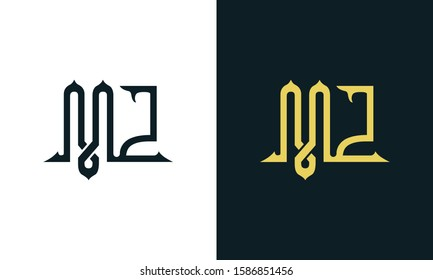 Minimalist luxury line art letter MZ logo. This logo icon incorporate with two Arabic letter in the creative way.