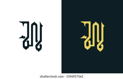 Minimalist luxury line art letter JN logo. This logo icon incorporate with two Arabic letter in the creative way. It will be suitable for Royalty and Islamic related brand or company.