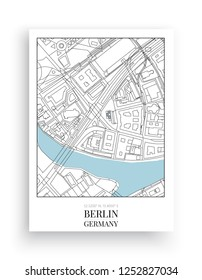 Minimalist Map Berlin, vector, Design Map Berlin in frame, Germany, poster design isolated on white background