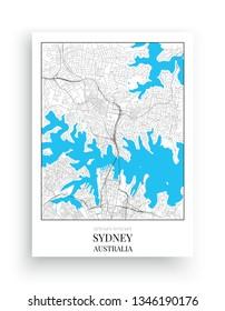 Minimalist Map Sydney, vector, Sydney Map Design in frame, Art Design, Australia map, poster design isolated on white background