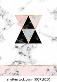Minimalist marble design print with gold triangles, geometric shapes, stripes in Scandinavian style.