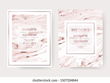 Minimalist marble wedding design invitation backgrounds with rose gold texture.