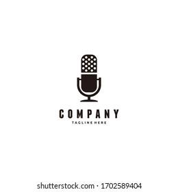 Minimalist microphone vintage podcast logo design illustration