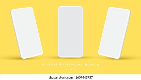 Minimalist modern clay mockup smartphones for presentation, application display, information graphics etc. Vector EPS. - Shutterstock ID 1607445757