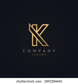 Minimalist Modern and Creative real estate K letter logo icon design. House, Property development, construction and building company K logotype template with gold color..eps