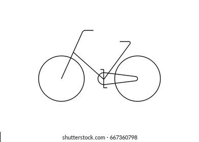 Minimalist and modern illustration of a bike. Thin line icon.