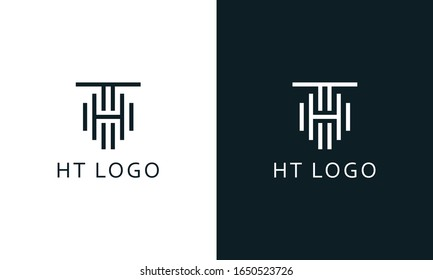 Minimalist modern line art letter HT logo. This logo icon incorporate with two letter H And T line in the creative way.