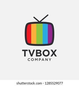 Minimalist modern molog icon of TV box, broadcasting entertaiment graphic