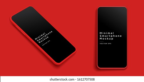 Minimalist modern red clay mockup smartphones. Vector EPS.