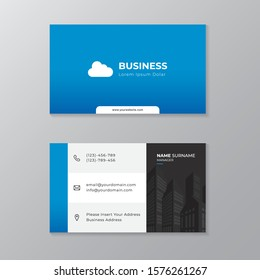 Minimalist modern and simple clean layout business card print template design with white, black, grey and blue cmyk color.
