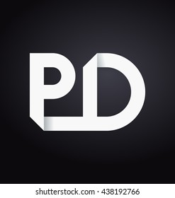 minimalist and modern two letter composition for initial, logo or signature started by P letter