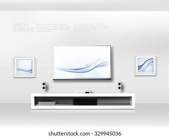 modern white shelf flat tv sound stock vector royalty free