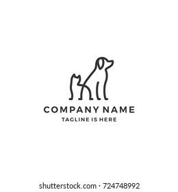 minimalist monoline lineart outline dog cat icon logo template vector illustration