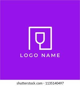 minimalist monoline lineart outline wine cup icon logo template vector illustration