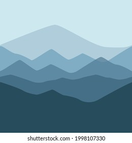 Minimalist mountain seamless vector pattern. Simple, abstract, modern, stylised, flat graphic layered mountain range background texture. Blue monochrome repeating landscape wallpaper design print.
